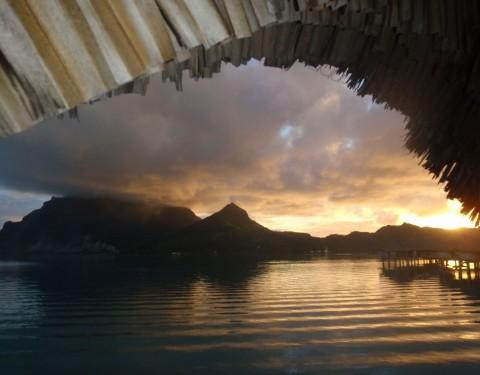 Bora Bora Overwater Otemanu Bungalow Sunset Honeymoon