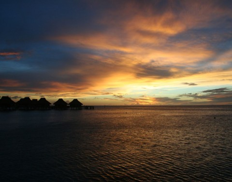Sunset from your Overwater Bungalow in Bora Bora